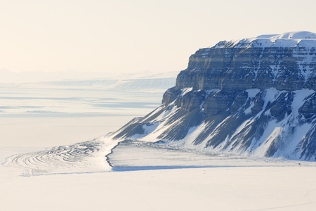 View on the cliffs from the Tempelfjorden, Spitsbergen  photo