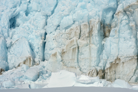 detailed view: Front of a glacier ending against pack ice  Stock Photo