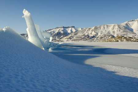 winterly: Crack in pack ice in a bay at Spitsbergen