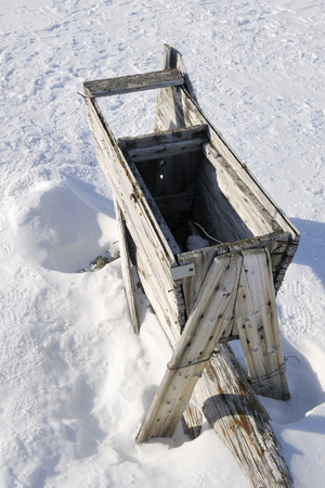 Old wooden trap for killing polar bears at Spitsbergen  photo
