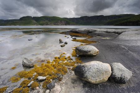 serenety: Rocky coast at Norwegian fjord.