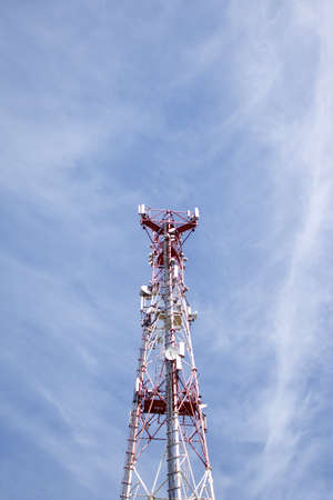 Abstract telecommunication tower Antenna and satellite, sky background Banco de Imagens
