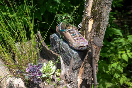 Old shoe as a decoration in the design of the flower beds in the garden. Stockfoto
