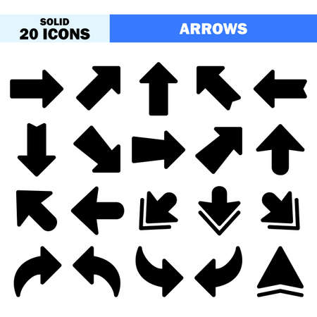 Arrows icons in solid style for any projects, use for website mobile app presentation Vektorové ilustrace