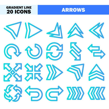 Arrows icons in gradient line style for any projects, use for website mobile app presentation Векторная Иллюстрация