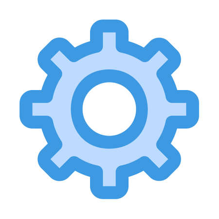 Setting icon in blue style for any projects, use for website mobile app presentation