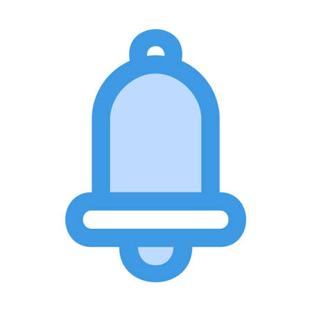 Notification icon in blue style for any projects, use for website mobile app presentation