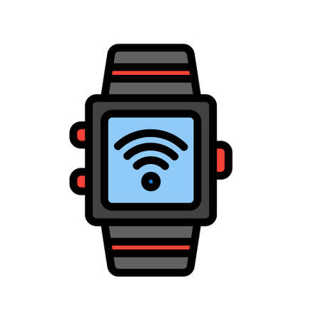 Smart Watch icon in filled line style about internet of things for any projects, use for website mobile app presentation