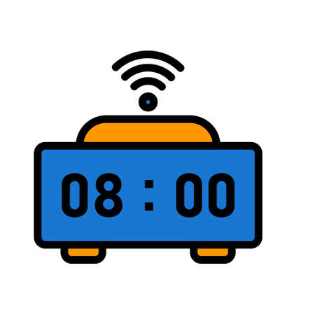Smart Clock icon in filled line style about internet of things for any projects, use for website mobile app presentation