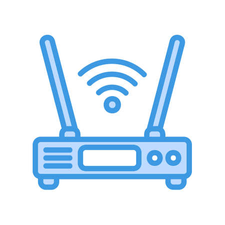 Router icon in blue style about internet of things for any projects, use for website mobile app presentation Ilustração