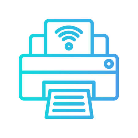 Printer icon in gradient style about internet of things for any projects, use for website mobile app presentation