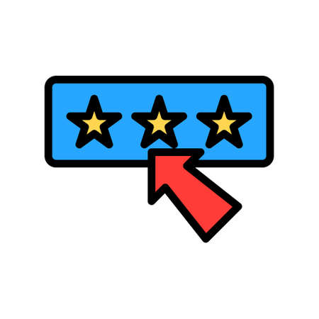 Rating icon in filled line style about marketing and growth for any projects, use for website mobile app presentation Иллюстрация