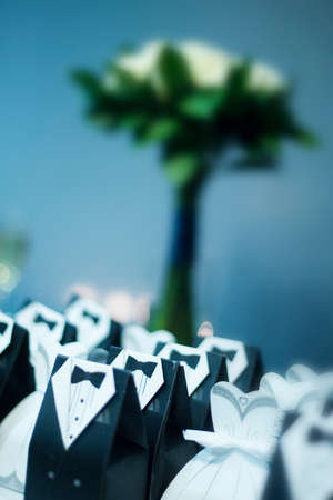 favours: Vertical colour image of wedding favours