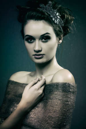 Horizontal color image  Beauty Portrait  Perfect Fresh Skin closeup   Pure Beauty Model  Youth and Skin Care Concept  Strong dark feel to post-processing   photo