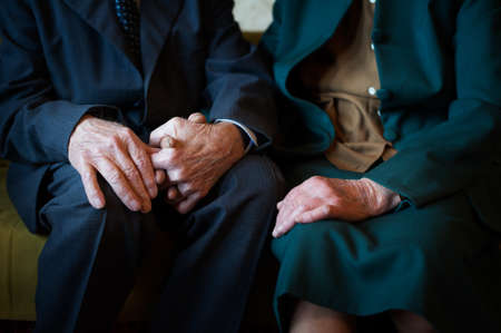 Cute 80 plus year old married couple posing for a portrait in their house  Love forever concept 版權商用圖片 - 28956541