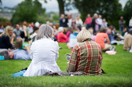 Freunde sitzen auf dem Rasen, im Freien genießen eine Musik, Kultur, Community-Event, Festival Standard-Bild - 29464794