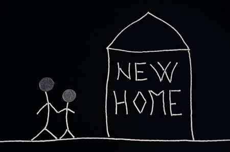 Family enjoying new home, unusual concept photo