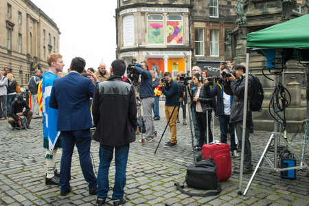 better chances: EDINBURGH, SCOTLAND, UK - September 18, 2014 - man expressing his opinion on independence during referendum day, giving an interview