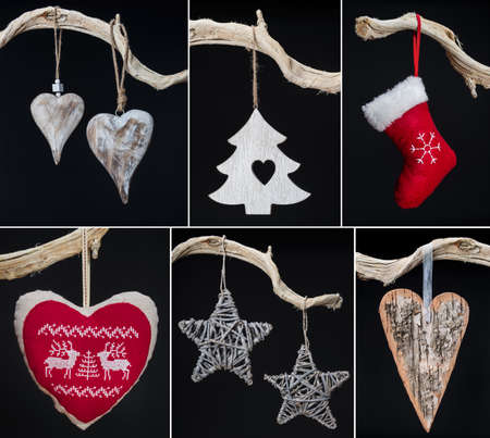 Collage of christmas photos over black background photo
