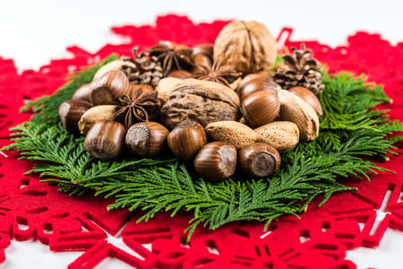 Christmas table decoration isolated on white background with copy space photo