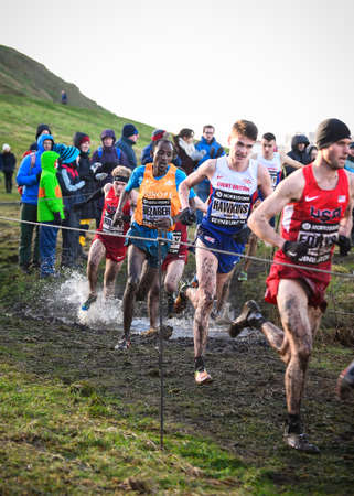 start to cross: EDINBURGH, SCOTLAND, UK, January 10, 2015 - elite athletes compete in the Great Edinburgh Cross Country Run. This Men Editorial