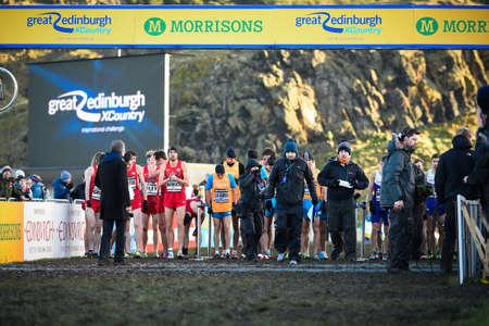 start to cross: EDINBURGH, SCOTLAND, UK, January 10, 2015 - start of the Great Edinburgh Cross Country Run. This Senior Men Editorial