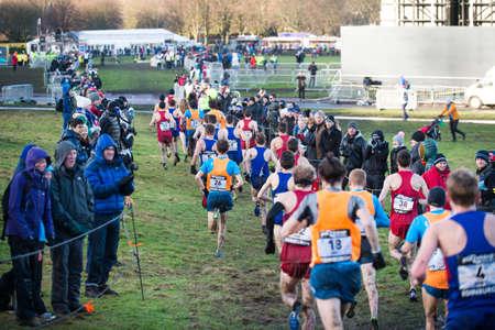 EDINBURGH, SCOTLAND, UK, January 10, 2015 - elite athletes compete in the Great Edinburgh Cross Country Run. This Men Editorial
