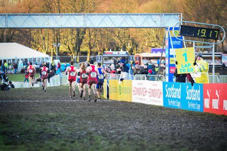 EDINBURGH, SCOTLAND, UK, January 10, 2015 - elite athletes compete in the Great Edinburgh Cross Country Run. This Senior Men