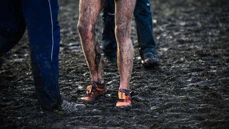 EDINBURGH, SCOTLAND, UK, January 10, 2015 - elite athletes exhausted after the Great Edinburgh Cross Country Run. This Men Editorial