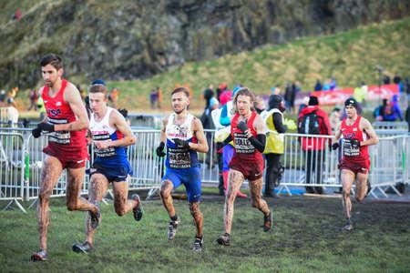 start to cross: EDINBURGH, SCOTLAND, UK, January 10, 2015 - elite athletes compete in the Great Edinburgh Cross Country Run. This Senior Men