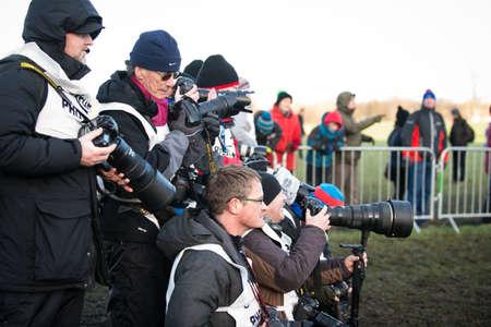 x country: EDINBURGH, SCOTLAND, UK, January 10, 2015 - various press photographers at the Great Edinburgh Cross Country Run event. Editorial