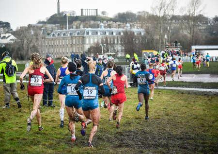 EDINBURGH, SCOTLAND, UK, January 10, 2015 - elite athletes compete in the Great Edinburgh Cross Country Run. This Senior Woman