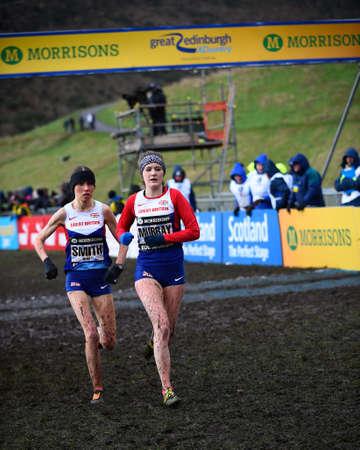 x country: EDINBURGH, SCOTLAND, UK, January 10, 2015 - elite athletes compete in the Great Edinburgh Cross Country Run. This Senior Woman