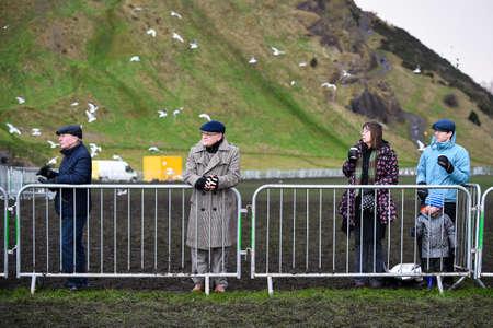 x country: EDINBURGH, SCOTLAND, UK, January 10, 2015 - public enjoying the Great Edinburgh Cross Country Run despite  bad weather.