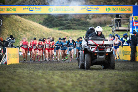 start to cross: EDINBURGH, SCOTLAND, UK, January 10, 2015 - start of the Great Edinburgh Cross Country Run. This Senior Woman Editorial