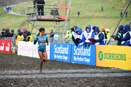x country: EDINBURGH, SCOTLAND, UK - January 10, 2015 - Trihas Gebre crosses the finish line in third place in the Woman