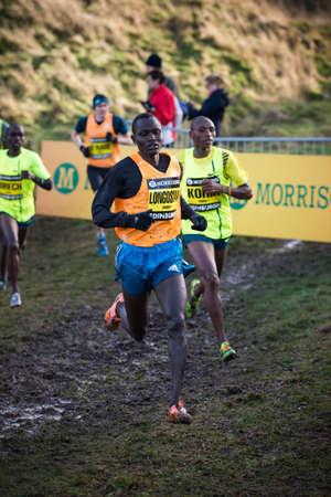 EDINBURGH, SCOTLAND, UK - January 10, 2015 - elite athletes compete in the Great Edinburgh Cross Country Run event. This Men