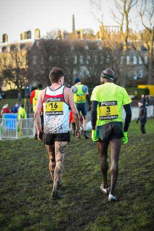 EDINBURGH, SCOTLAND, UK,  January 10, 2015 - elite athletes exhausted after the Great Edinburgh Cross Country Run. This Men