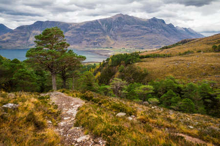 Dramatic view of beautiful Wester Ross mountains and Loch Torridon, Scotland, UK photo