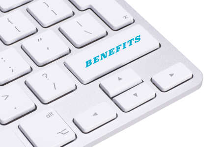 fringe benefit: Benefits - Business Concept. Button on Modern Computer Keyboard. Stock Photo