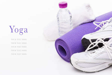 Yoga Background isolated on white with copy space photo