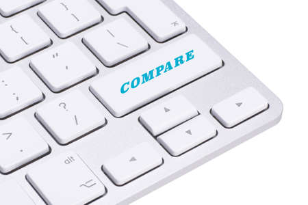 oppose: computer keyboard enter button with word compare