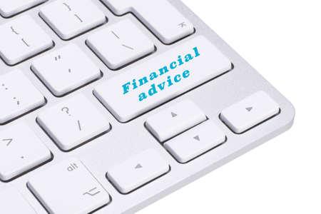 financial advice: Financial advice button on keyboard, finance concept