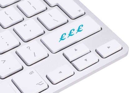 pound sign: Sterling, british pound sign button on keyboard, money concept Stock Photo