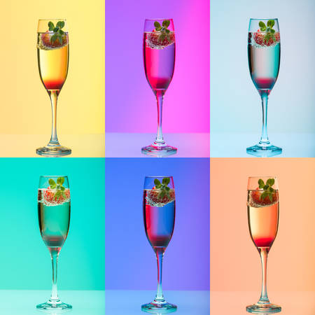 champagne pop: Champagne glass with strawberry, studio shot with light effects, collage of 6 images
