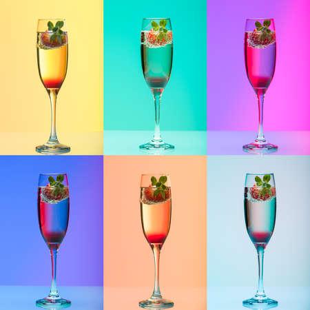 effets lumiere: verre de champagne � la fraise, tourn� en studio avec des effets de lumi�re, collage de 6 images