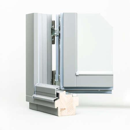 wooden window with aluminium wrap sample, isolated on white background