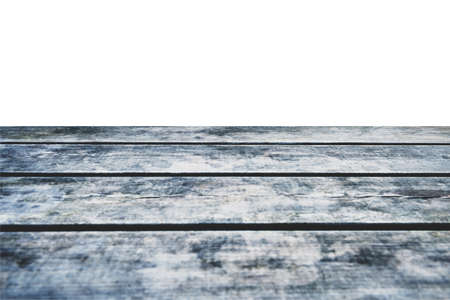 Grungy wooden deck table on white background photo