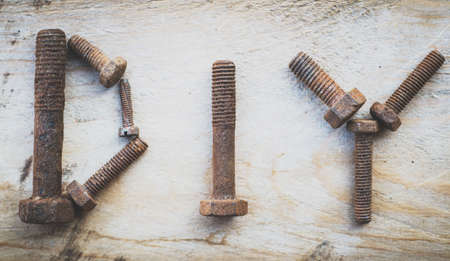 DIY made up from old rusty screws. Banco de Imagens