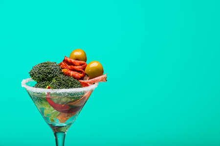 unusual vegetables: Unusual cocktail with meat and vegetables Stock Photo